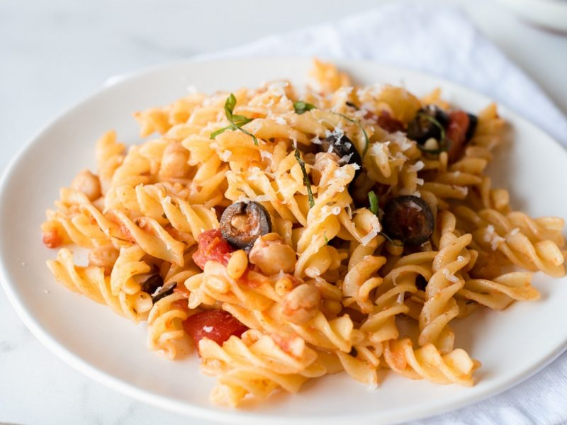 Close up on a plate of pasta