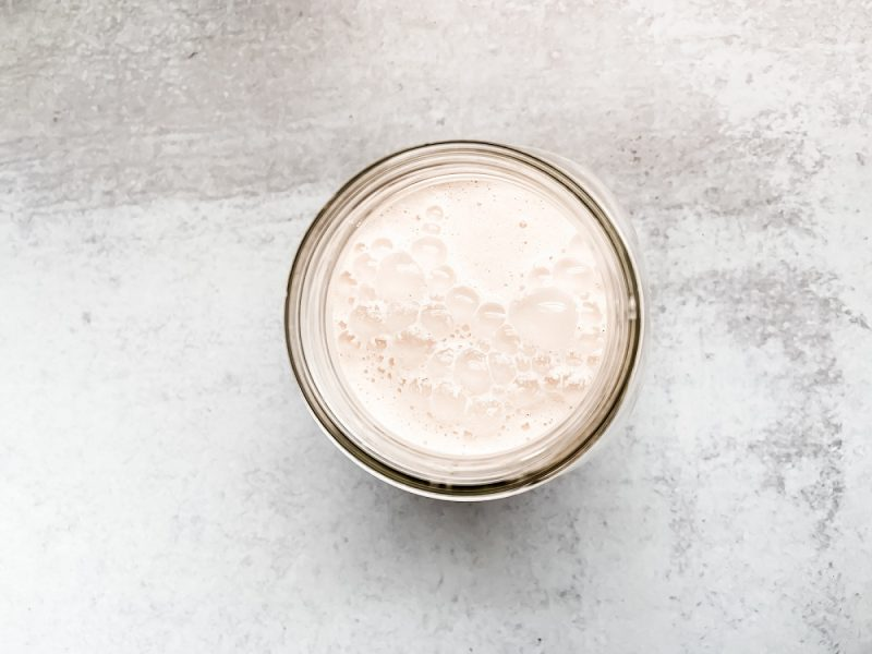 Top down view of canning jar filled with coconut horchata