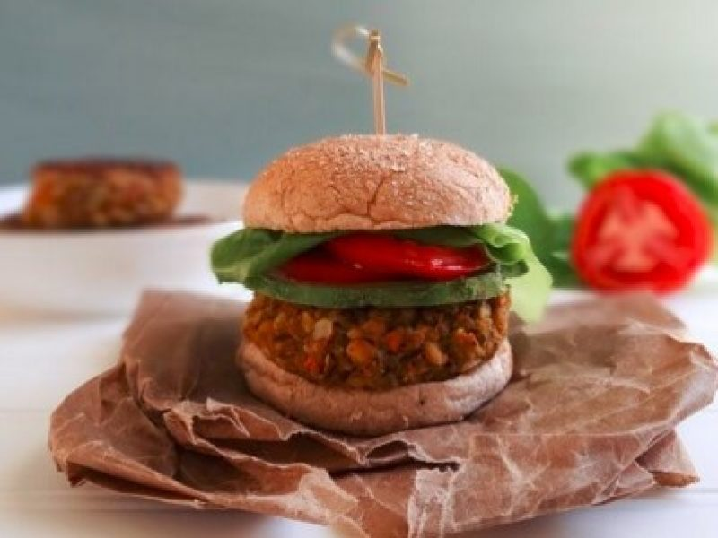 Veggie burger on a bun