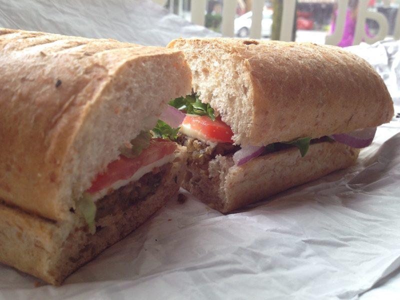 Veggie sandwich on a wrapper