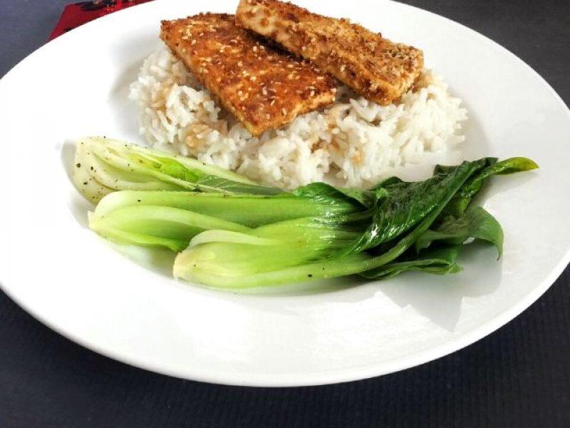 Hello Fresh Sesame Crusted Tofu with Spicy Peanut Sauce and Garlic Bok Choy
